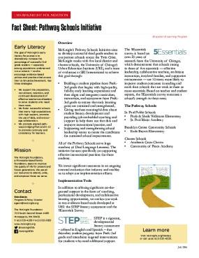 Fact Sheet: Pathway Schools Initiative