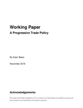 Working Paper A Progressive Trade Policy